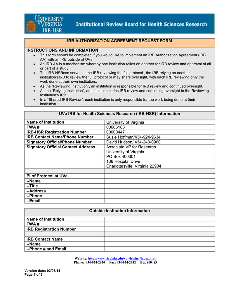 Irb Authorization Agreements Request Form
