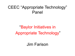 Baylor Initiatives in Appropriate Technology - Farison