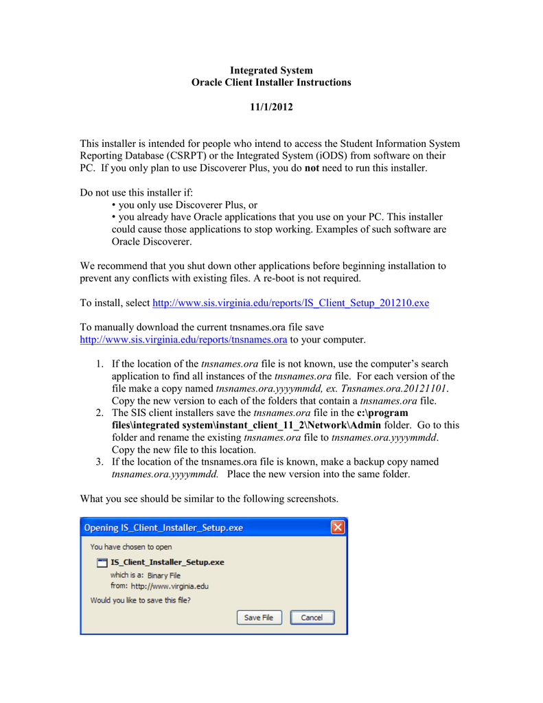 Integrated System Oracle Client Installer Instructions 11/1/2012