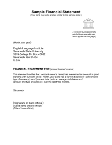 Sample Financial Statement )