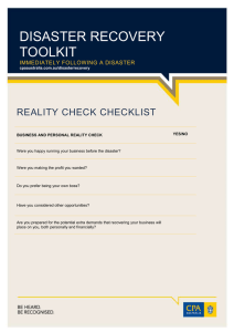 DISASTER RECOVERY TOOLKIT REALITY CHECK CHECKLIST