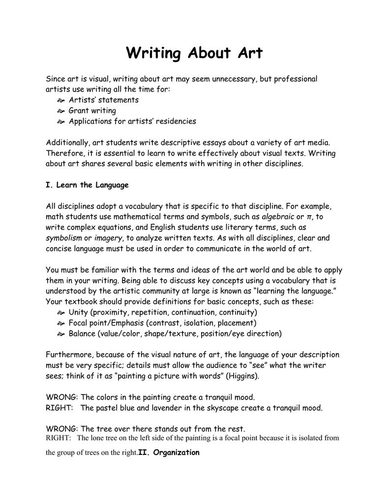 how to write a descriptive essay about artwork