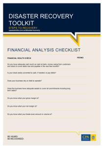 DISASTER RECOVERY TOOLKIT FINANCIAL ANALYSIS CHECKLIST