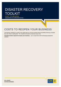 DISASTER RECOVERY TOOLKIT COSTS TO REOPEN YOUR BUSINESS