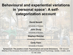 Behavioural and experiential variations in 'personal space': A self-categorization account.