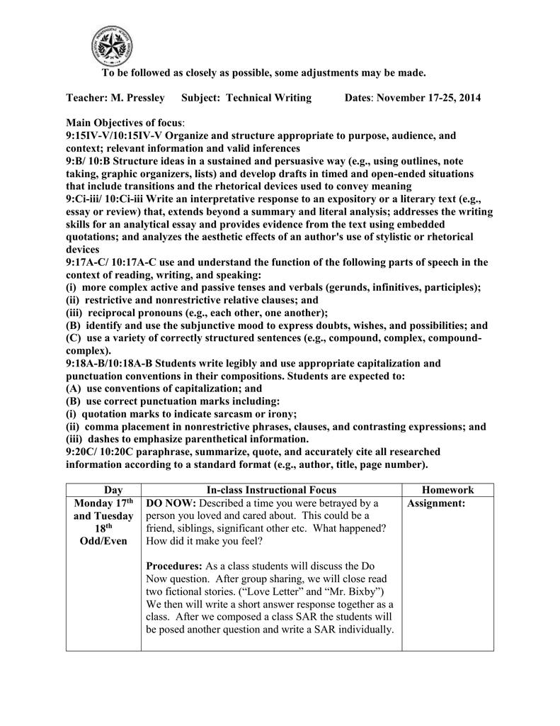 Technical Writing November 17-28