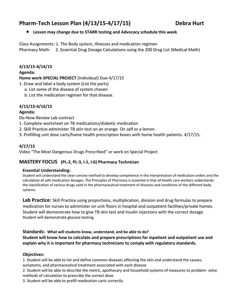 Worksheets Pharmacy Technician Worksheets pharm tech lesson plan 4 13 15 17 15