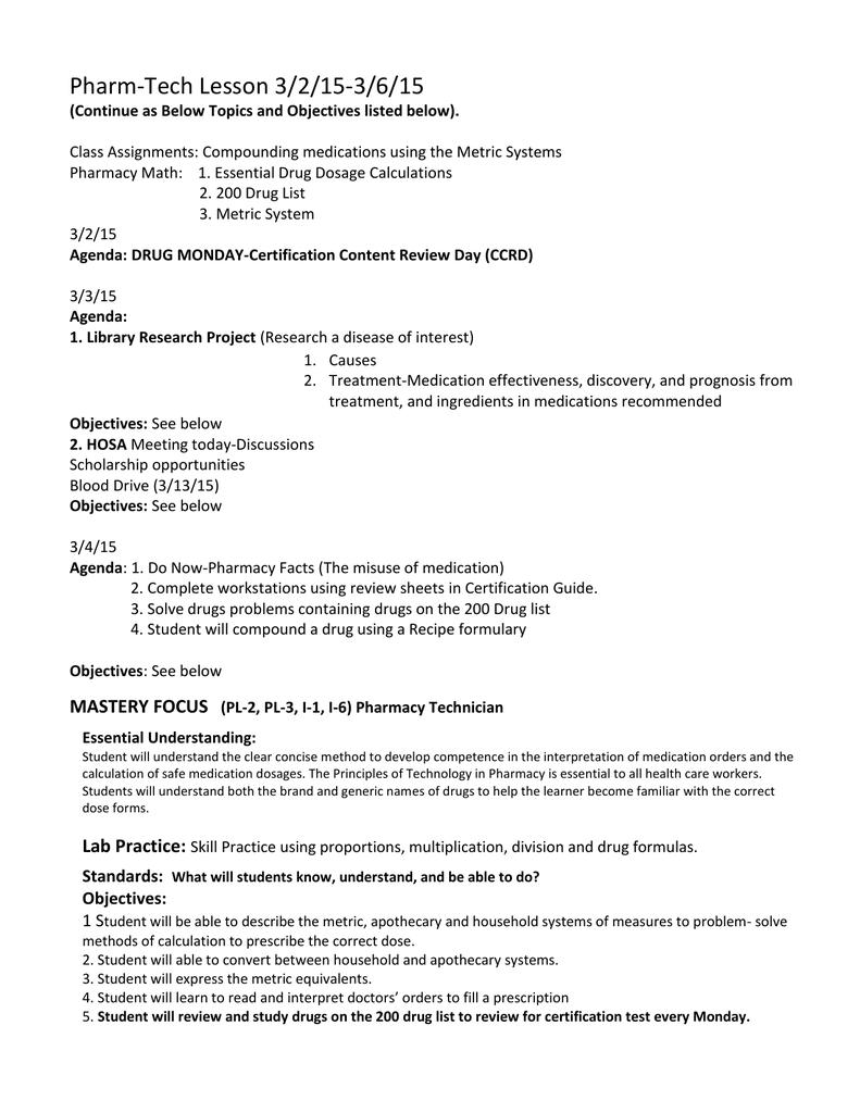 worksheet Dosage Calculation Practice Worksheets pharm tech lesson plam 3 4 15