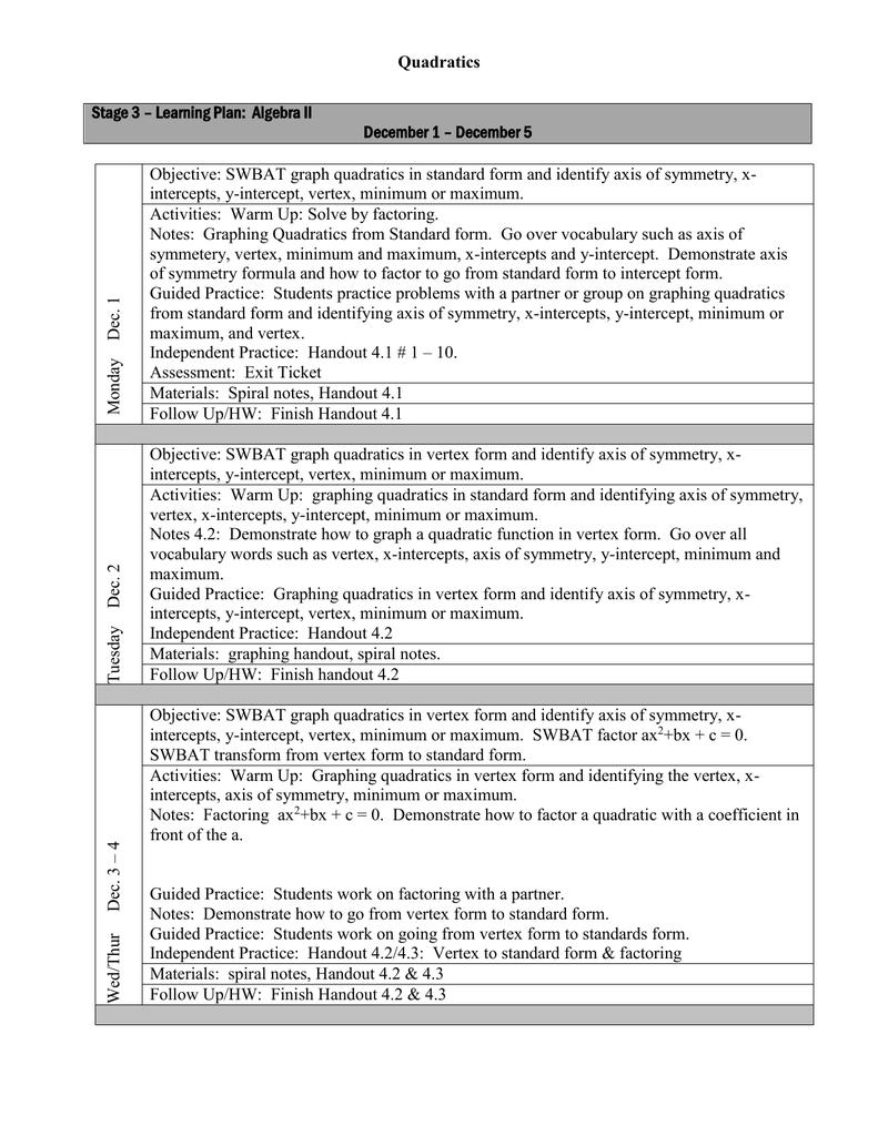 Lesson Plan Dec 1 5