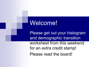 Welcome! Please get out your histogram and demographic transition worksheet from this weekend