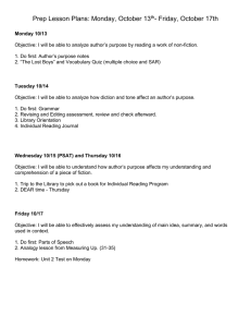 Prep Lesson Plans: Monday, October 13 - Friday, October 17th