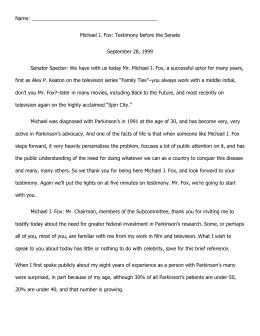 Michael J. Fox Testimony