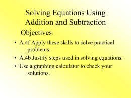 Solving One-Step Equations using Addition and Subtraction PPT