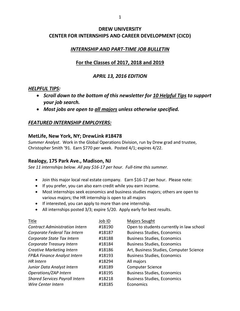 Internship and PT Jobs April 13