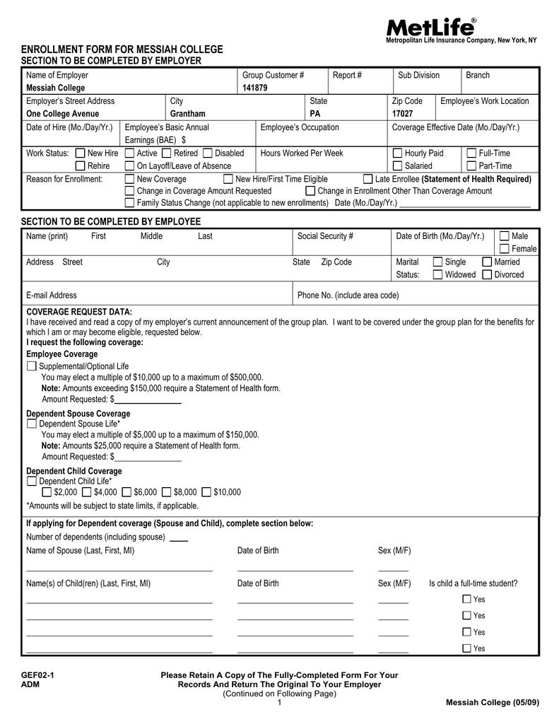 Metlife Life Insurance >> Metlife Voluntary Life Enrollment Form