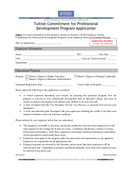 Tuition Commitment for Professional Development Program Application