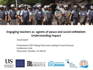 Engaging Teachers as Agents of Peace and Social Cohesion: Understanding impact [PPTX 698.02KB]