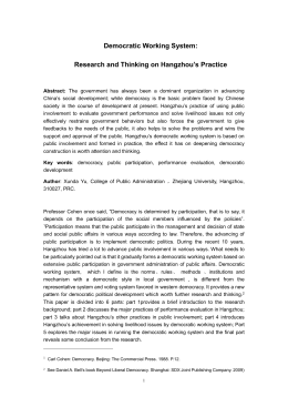 Democratic Working System: Research and Thinking on Hangzhou's Practice