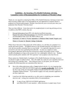 Pre-Health Professions Advising Committee Letter of Recommendation