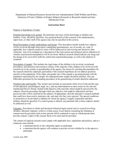 Maryland Department of Human Resources Social Services Administration Child Welfare and Policy: Inclusion of Foster Children in Human Subjects Reseach or Research-related activities Submission Form