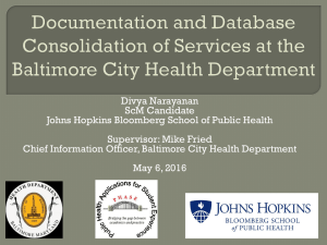 Database Documentation and Consolidation of Services at the Baltimore City Health Department