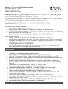 Residence Life Student Staff Position Description