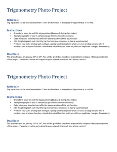 Trigonometry Photo Project Directions