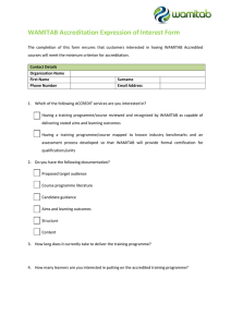 WAMITAB Accreditation Expression of Interest Form
