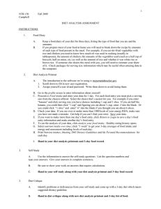 Nutrition Diet Project worksheet