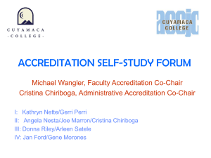 Link to the Accreditation Forum of January 17, 2007 - PowerPoint