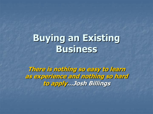 Buying and Existing Business