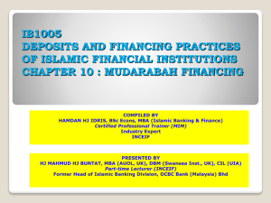 IB1005 DEPOSITS AND FINANCING PRACTICES OF ISLAMIC FINANCIAL INSTITUTIONS