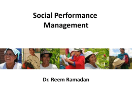 Social Performance Management Dr. Reem Ramadan