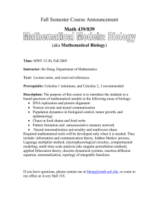 Fall Semester Course Announcement Math 439/839 Mathematical Biology