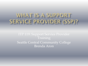 ITP 119: Support Service Provider Training Seattle Central Community College Brenda Aron