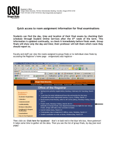 Quick access to room assignment information for final examinations