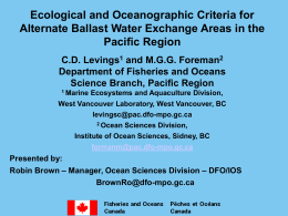 Ecological and Oceanographic Criteria for Alternate Ballast Water Exchange Areas in the Pacific Region