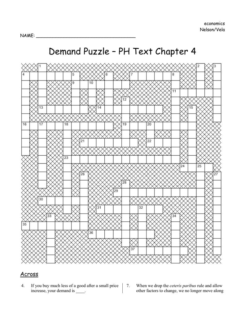 Ph Chapter 4 Crossword Puzzle