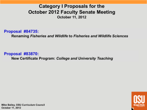 Category I Proposals for the October 2012 Faculty Senate Meeting