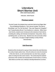 Literature Short Stories Unit Previous Lesson (One week lesson plan)