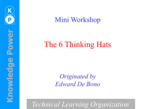 The 6 Thinking Hats Mini Workshop Technical Learning Organization Originated by