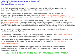 """Why We're So Nice: We're Wired to Cooperate"" Natalie Angier"