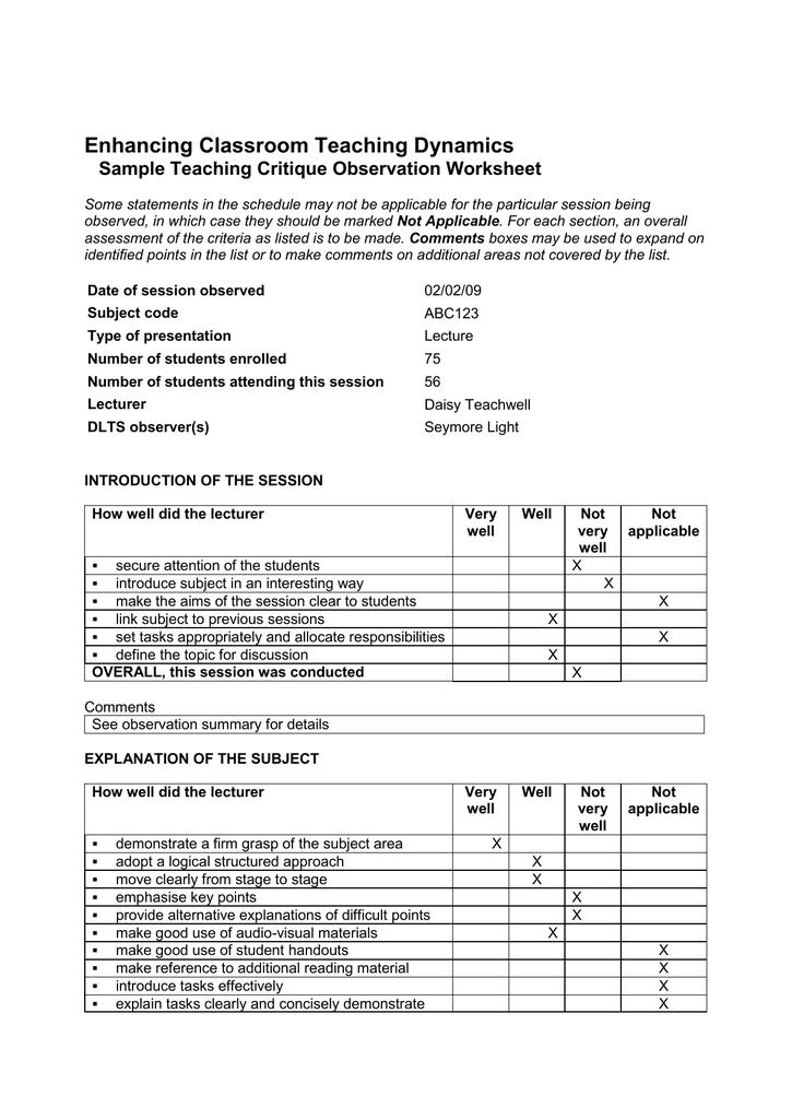 Teaching Critique Observation Worksheet Summary