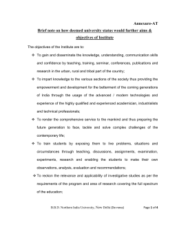 Brief note on how deemed university status would further aims & objectives of Institute