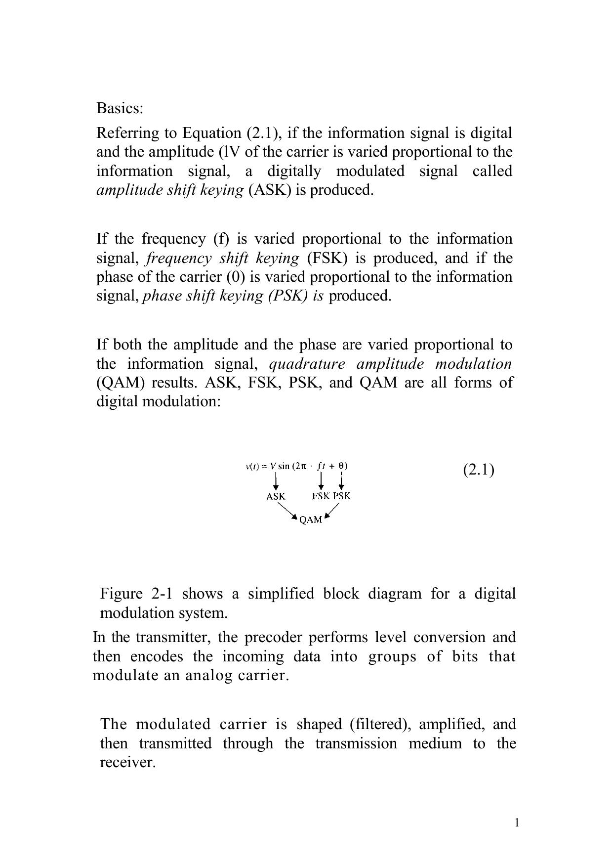 Communicatuion Systems - Notes ASK, FSK, PSK