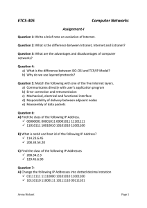 Computer Networks - Assignment I for CSE, T2 Section