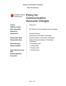 Communications Accounts Charging Policy