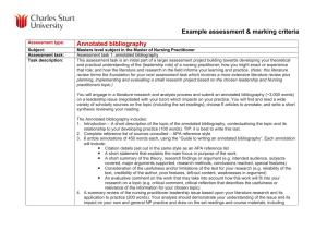 Example assessment & marking criteria Annotated bibliography