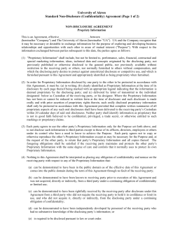 University of Akron Standard Non-Disclosure (Confidentiality) Agreement (Page 1 of 2)