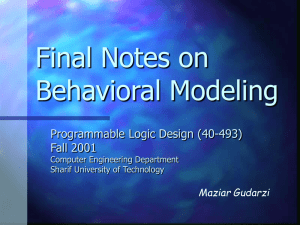 Final Notes on Behavioral Modeling